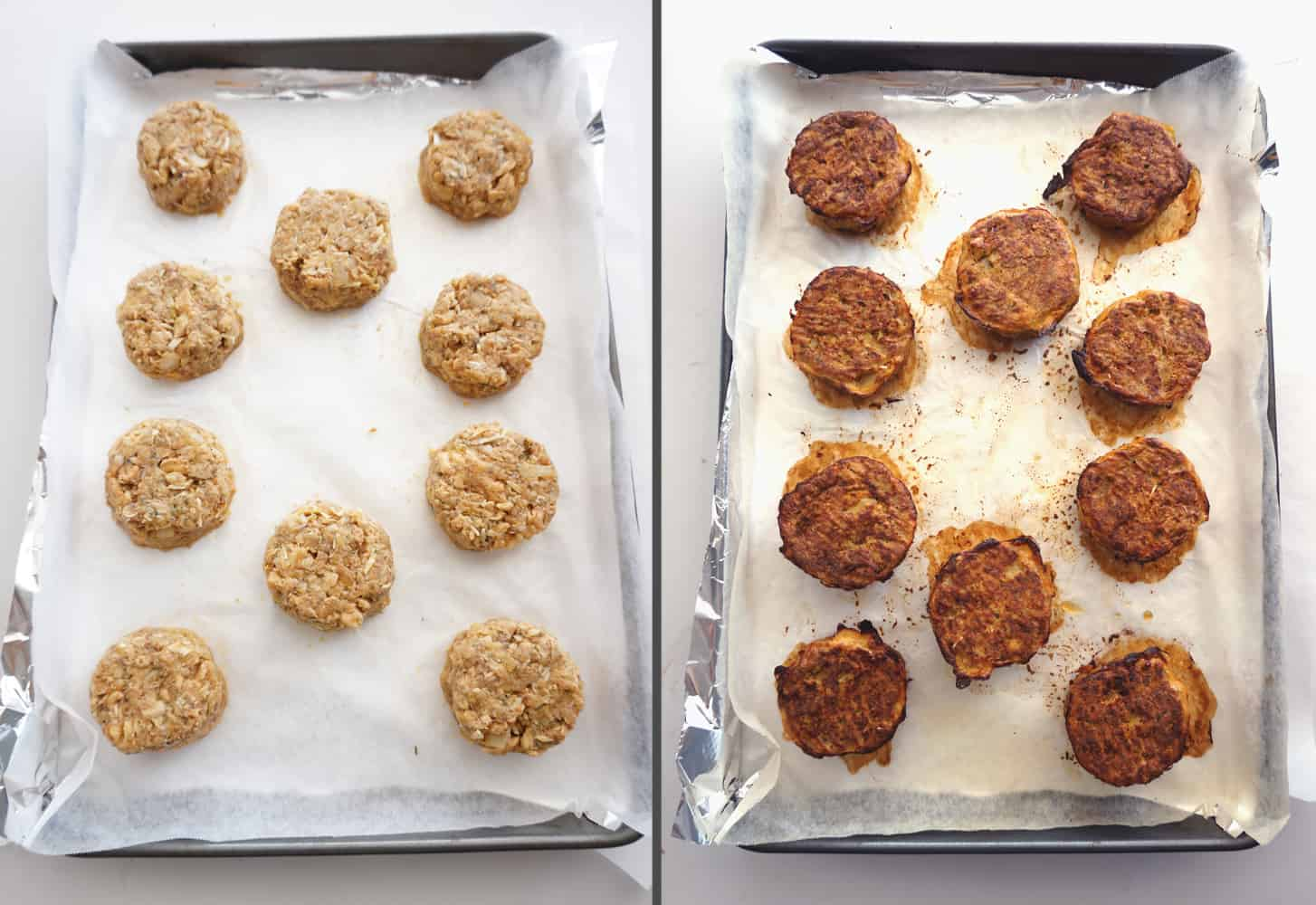 shaped salmon patties on a tray before and after baking