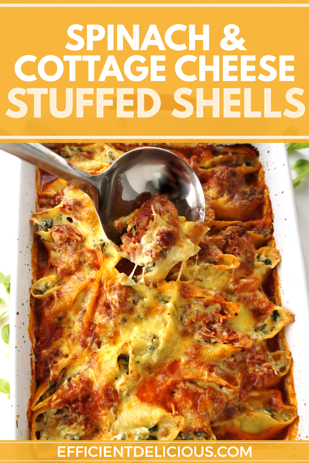 conchiglioni pasta bake with ladle and title banner across the top