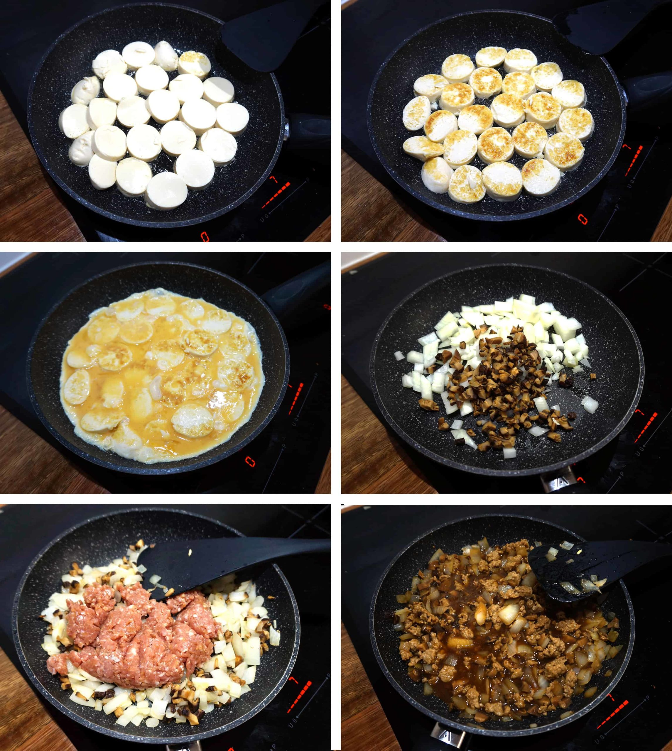process steps showing how to cook the first and second parts of the recipe
