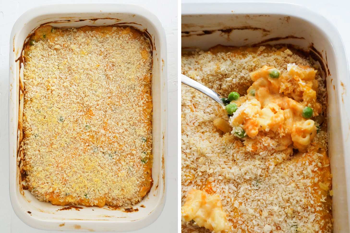 diptic of finished sweet potato baked mac and cheese and close up of a spoon of mac