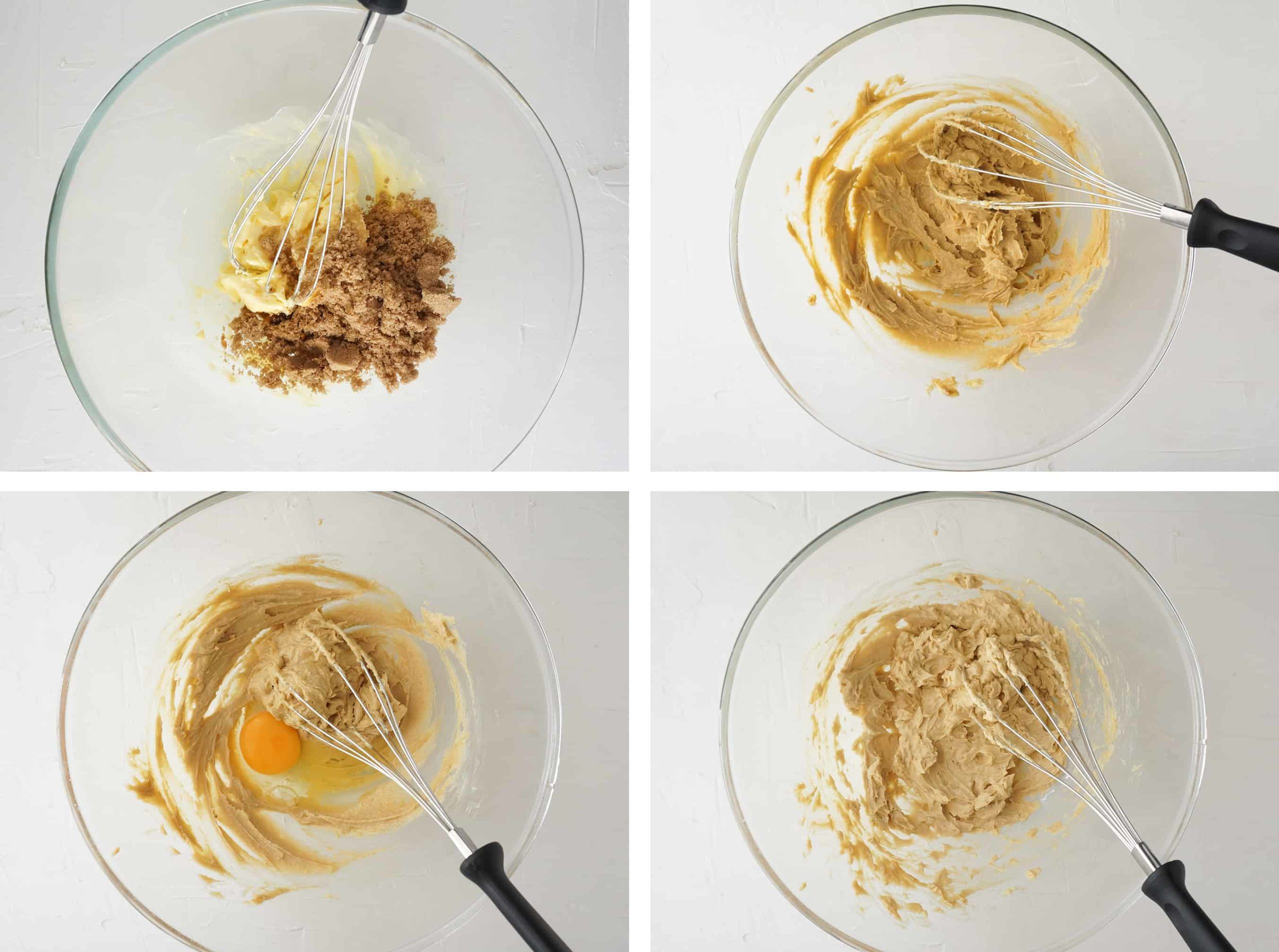 process photos of creaming butter, sugar and eggs