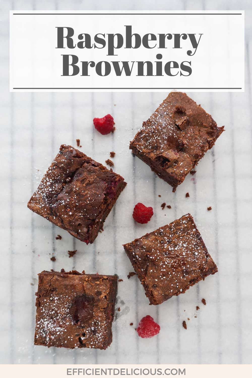 "pinterest pin with banner saying ""raspberry brownies"" and an image of 4 brownies underneath with raspberries between them"